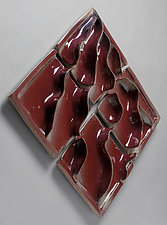 Red Wiggly Waves by Sara Baker (Ceramic Wall Sculpture)