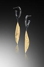 Hoop Earring with Single Golden Leaf by Lori Gottlieb (Gold & Silver Earrings)