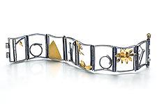 Small Hinged Bracelet 7 by Lori Gottlieb (Gold, Silver, & Stone Bracelet)