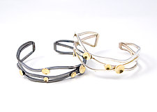 Wave Bracelet with Circles by Lori Gottlieb (Gold & Silver Bracelet)