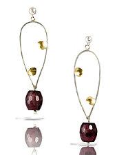 Watermelon Jade Open Pebble Earring by Lori Gottlieb (Gold, Silver & Stone Earrings)