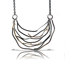 Large Diamond Wave Necklace by Lori Gottlieb (Gold, Silver & Stone Necklace)