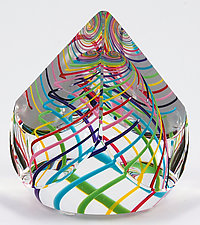 Candy Pyramid Paperweight by Paul D. Harrie (Art Glass Paperweight)
