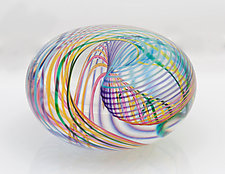 Zephyr Flattened Orb by Paul D. Harrie (Art Glass Paperweight)