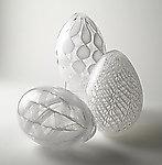 White Cane Eggs by Paul Lockwood (Art Glass Sculpture)