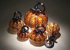 Aurora Pumpkin Set of 5 by Paul Lockwood (Art Glass Sculpture)
