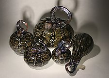 Noir Pumpkin Set of 5 by Paul Lockwood (Art Glass Sculpture)