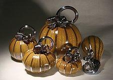 Spice Pumpkin Set of 5 by Paul Lockwood (Art Glass Sculpture)
