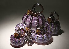 Hyacinth Pumpkin Set of 5 by Paul Lockwood (Art Glass Sculpture)