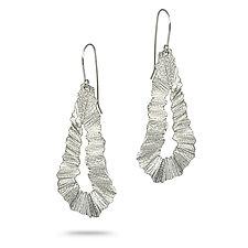 Flutter Series Long Teardrop by Debra Adelson (Silver Earrings)