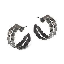 Flutter Series Blackened Frilly Hoops by Debra Adelson (Silver Earrings)