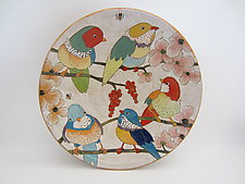 'Flowers, Birds & Berries' Large Serving Bowl by Dwo Wen Chen (Ceramic Bowl)