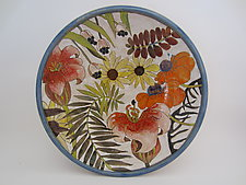 'Flowers & Pigment' Large Serving Bowl by Dwo Wen Chen (Ceramic Bowl)