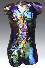 Tourmaline Moon Male Figure by Karen Ehart (Art Glass Sculpture)