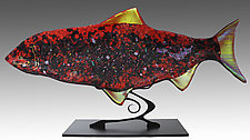 Red Fish Sculpture by Karen Ehart (Art Glass Sculpture)