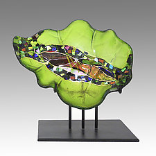 Small Leaf Sculpture on Stand by Karen Ehart (Art Glass Sculpture)