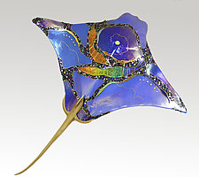 Blue Eagle Ray by Karen Ehart (Art Glass Wall Sculpture)
