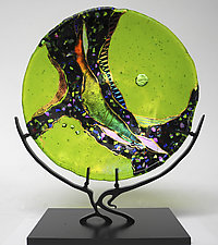Peridot Moon by Karen Ehart (Art Glass Sculpture)