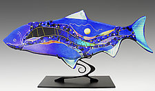 Sapphire Moon Fish Sculpture by Karen Ehart (Art Glass Sculpture)