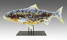 Summer Steelhead Sculpture by Karen Ehart (Art Glass Sculpture)