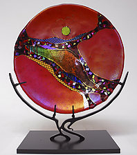Ruby Moon by Karen Ehart (Art Glass Sculpture)