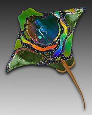 Green Eagle Ray by Karen Ehart (Art Glass Wall Art)