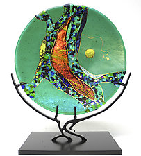Emerald Moon by Karen Ehart (Art Glass Sculpture)