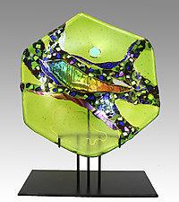 Peridot Moon Hexagon by Karen Ehart (Art Glass Sculpture)
