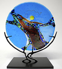 Turquoise Moon by Karen Ehart (Art Glass Sculpture)
