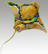 Amber Eagle Ray by Karen Ehart (Art Glass Wall Sculpture)