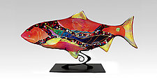 Ruby Moon Fish Sculpture by Karen Ehart (Art Glass Sculpture)