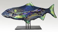 Tourmaline Moon Fish Sculpture by Karen Ehart (Art Glass Sculpture)
