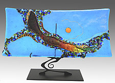 Turquoise Moon Swoop Sushi by Karen Ehart (Art Glass Sculpture)