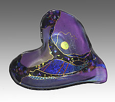 Violet Crazy Heart by Karen Ehart (Art Glass Bowl)