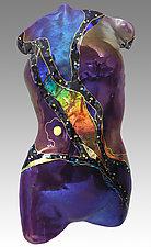 Amethyst Moon Figure by Karen Ehart (Art Glass Wall Sculpture)