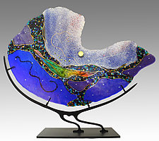 Cobalt Nautilus by Karen Ehart (Art Glass Sculpture)