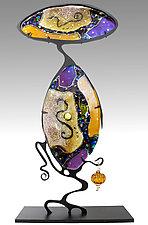 Amber Cantilever by Karen Ehart (Art Glass Sculpture)