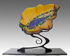 Amber Leaf Sculpture by Karen Ehart (Art Glass Sculpture)
