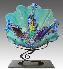 Teal Shell Sculpture by Karen Ehart (Art Glass Sculpture)