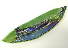 Boat Leaf with Green by Karen Ehart (Art Glass Platter)