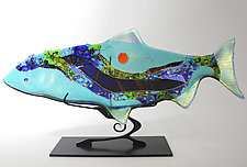 Sea Glass Abstract Fish Sculpture by Karen Ehart (Art Glass Sculpture)