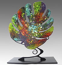 Sun Dappled Monstera Leaf on Stand by Karen Ehart (Art Glass Sculpture)