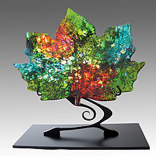 Sun Dappled Maple Leaf on Stand by Karen Ehart (Art Glass Sculpture)