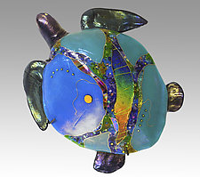 Blue Moon Sea Turtle by Karen Ehart (Art Glass Wall Sculpture)