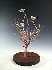 Birds in Trees - Small Tabletop by Chris  Stiles (Wood & Ceramic Sculpture)