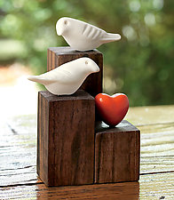 Love Birds by Chris  Stiles (Ceramic & Wood Sculpture)