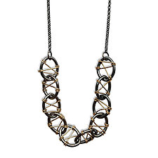 Cross Stitch Multi Oval Necklace by Alice Roche (Gold & Silver Necklace)