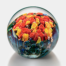 Red and Yellow Roses Bouquet Paperweight by Shawn Messenger (Art Glass Paperweight)