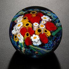 Landscape Series Rose Sunflower Paperweight by Shawn Messenger (Art Glass Paperweight)