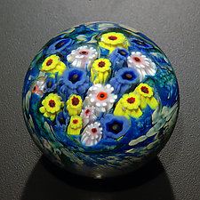 Landscape Series Paperweight White Stripe, Blue Star, Yellow Coneflower by Shawn Messenger (Art Glass Paperweight)